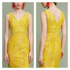 NWOT Maeve Yellow Gardenia Lace Column Dress